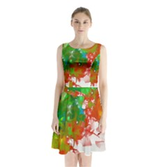 Digitally Painted Messy Paint Background Textur Sleeveless Chiffon Waist Tie Dress
