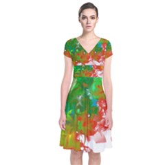 Digitally Painted Messy Paint Background Textur Short Sleeve Front Wrap Dress