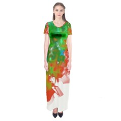 Digitally Painted Messy Paint Background Textur Short Sleeve Maxi Dress