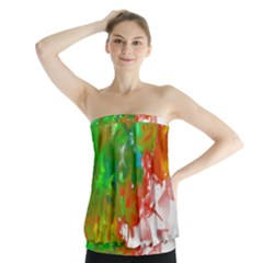 Digitally Painted Messy Paint Background Textur Strapless Top