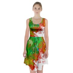 Digitally Painted Messy Paint Background Textur Racerback Midi Dress