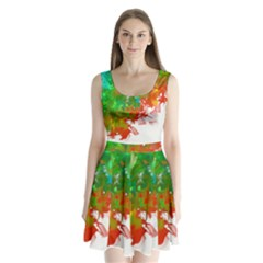 Digitally Painted Messy Paint Background Textur Split Back Mini Dress