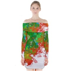 Digitally Painted Messy Paint Background Textur Long Sleeve Off Shoulder Dress