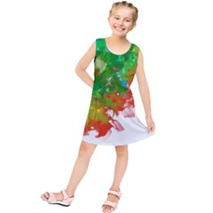 Digitally Painted Messy Paint Background Textur Kids  Tunic Dress