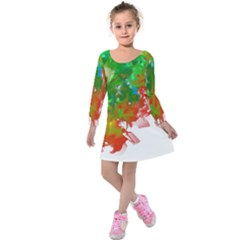 Digitally Painted Messy Paint Background Textur Kids  Long Sleeve Velvet Dress