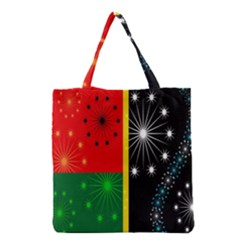 Snowflake Background Digitally Created Pattern Grocery Tote Bag