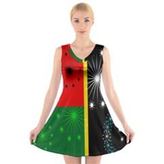 Snowflake Background Digitally Created Pattern V Neck Sleeveless Skater Dress