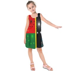 Snowflake Background Digitally Created Pattern Kids  Sleeveless Dress
