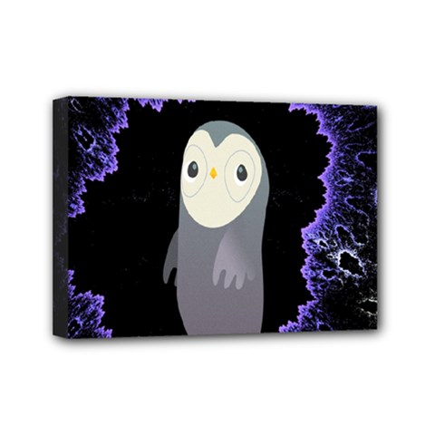 Fractal Image With Penguin Drawing Mini Canvas 7  X 5