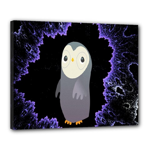 Fractal Image With Penguin Drawing Canvas 20  x 16