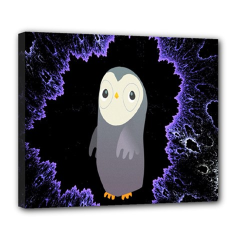 Fractal Image With Penguin Drawing Deluxe Canvas 24  x 20