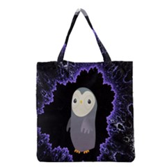 Fractal Image With Penguin Drawing Grocery Tote Bag