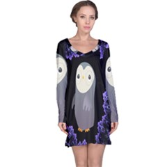 Fractal Image With Penguin Drawing Long Sleeve Nightdress