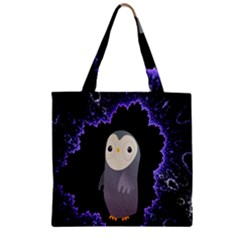 Fractal Image With Penguin Drawing Zipper Grocery Tote Bag