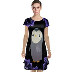 Fractal Image With Penguin Drawing Cap Sleeve Nightdress