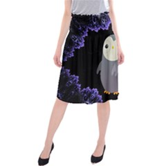 Fractal Image With Penguin Drawing Midi Beach Skirt
