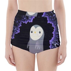 Fractal Image With Penguin Drawing High-Waisted Bikini Bottoms