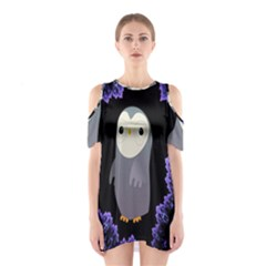 Fractal Image With Penguin Drawing Shoulder Cutout One Piece