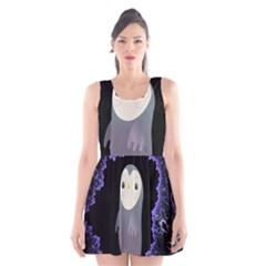 Fractal Image With Penguin Drawing Scoop Neck Skater Dress