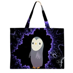 Fractal Image With Penguin Drawing Zipper Large Tote Bag