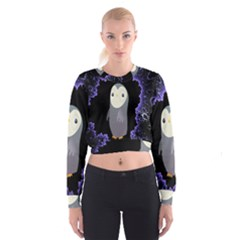 Fractal Image With Penguin Drawing Cropped Sweatshirt