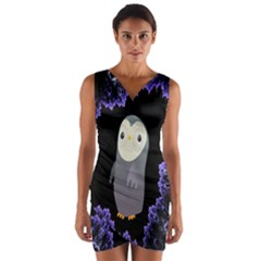 Fractal Image With Penguin Drawing Wrap Front Bodycon Dress