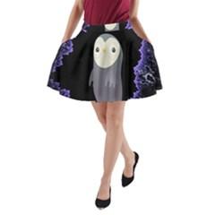 Fractal Image With Penguin Drawing A-Line Pocket Skirt