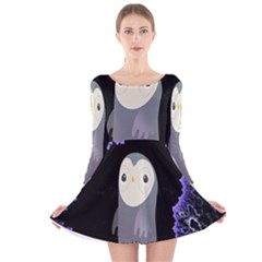 Fractal Image With Penguin Drawing Long Sleeve Velvet Skater Dress
