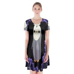 Fractal Image With Penguin Drawing Short Sleeve V Neck Flare Dress