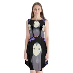 Fractal Image With Penguin Drawing Sleeveless Chiffon Dress