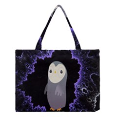 Fractal Image With Penguin Drawing Medium Tote Bag
