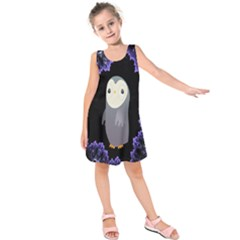 Fractal Image With Penguin Drawing Kids  Sleeveless Dress