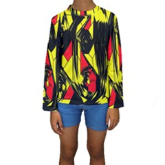 Easy Colors Abstract Pattern Kids  Long Sleeve Swimwear