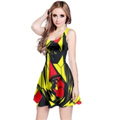 Easy Colors Abstract Pattern Reversible Sleeveless Dress