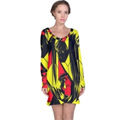 Easy Colors Abstract Pattern Long Sleeve Nightdress