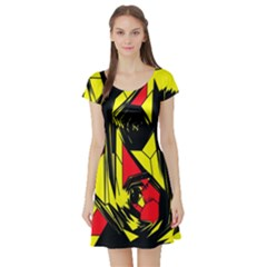 Easy Colors Abstract Pattern Short Sleeve Skater Dress