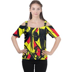 Easy Colors Abstract Pattern Women s Cutout Shoulder Tee