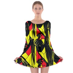 Easy Colors Abstract Pattern Long Sleeve Skater Dress