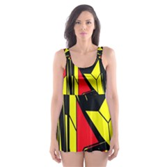 Easy Colors Abstract Pattern Skater Dress Swimsuit