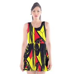 Easy Colors Abstract Pattern Scoop Neck Skater Dress