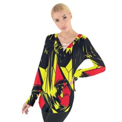 Easy Colors Abstract Pattern Women s Tie Up Tee