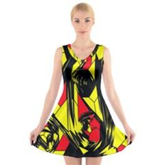 Easy Colors Abstract Pattern V Neck Sleeveless Skater Dress