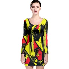 Easy Colors Abstract Pattern Long Sleeve Velvet Bodycon Dress