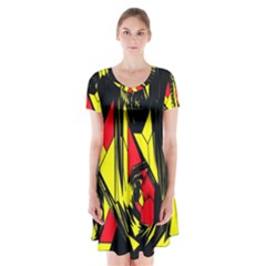 Easy Colors Abstract Pattern Short Sleeve V-neck Flare Dress