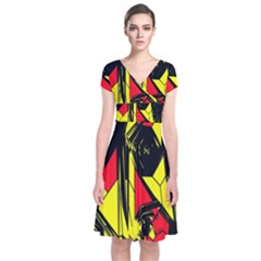Easy Colors Abstract Pattern Short Sleeve Front Wrap Dress