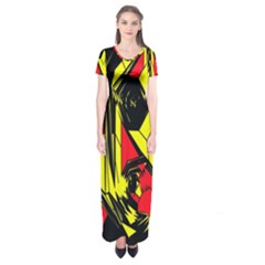 Easy Colors Abstract Pattern Short Sleeve Maxi Dress