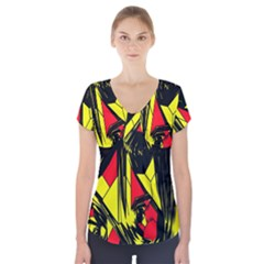 Easy Colors Abstract Pattern Short Sleeve Front Detail Top