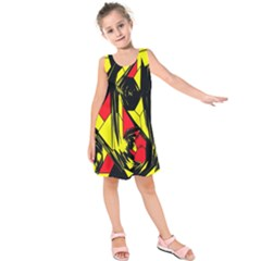 Easy Colors Abstract Pattern Kids  Sleeveless Dress