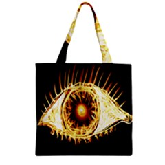 Flame Eye Burning Hot Eye Illustration Zipper Grocery Tote Bag