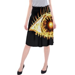Flame Eye Burning Hot Eye Illustration Midi Beach Skirt